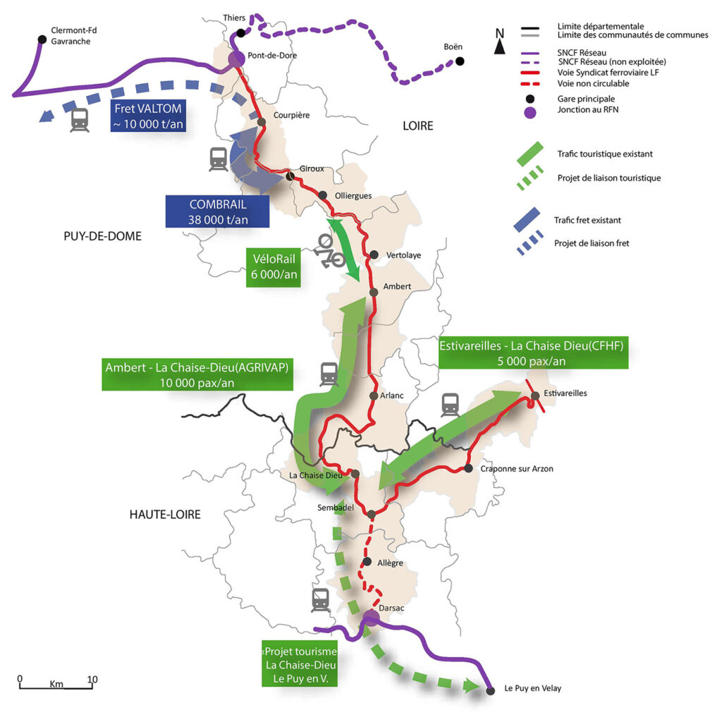 Schéma du traffic ferroviaire en Livradois-Forez